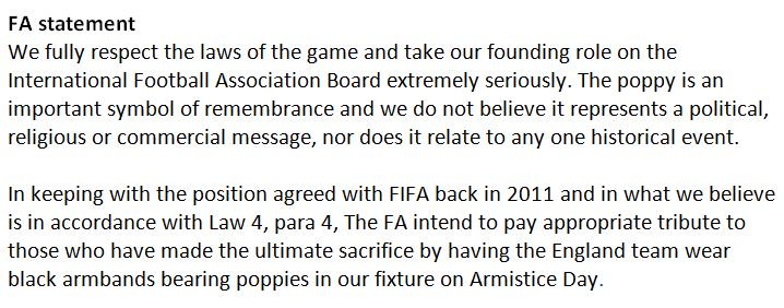 FA statement regarding Armistice Day tributes at @England v Scotland. https://t.co/4oRAKE3vAR