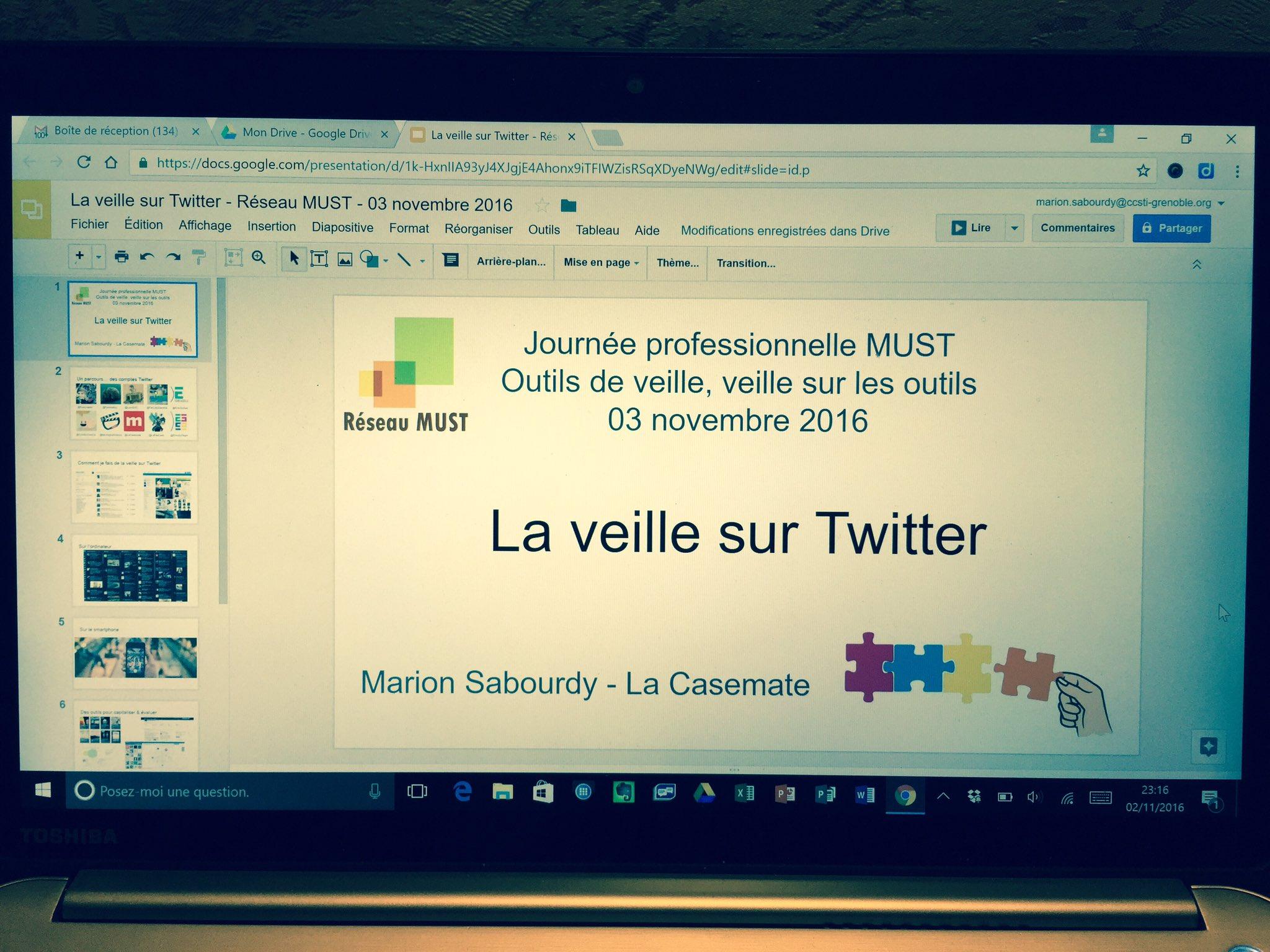Diapo OK ! Prête pour la journée pro du @ReseauMUST demain au Musée @ArtsetMetiers ! 😅 #Veille #Twitter #CSTI https://t.co/GgP20IgzMj