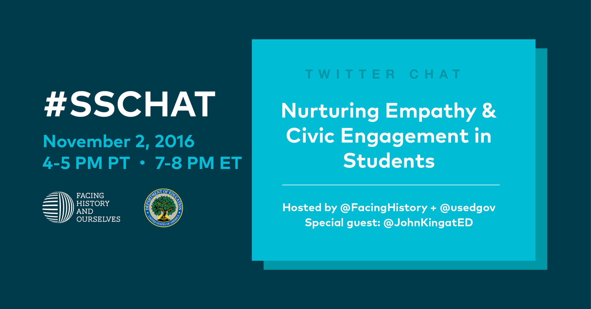 We're chatting now! Join us & @JohnKingatED for a special #sschat! https://t.co/Em9szSNMwu