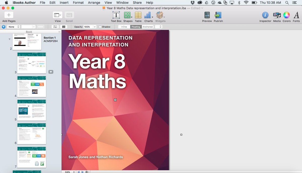 Time for a design upgrade of my #year8math #ibook on data. #iBooksAuthor #iba #bookwidgets #acara #edutech #iPaded
