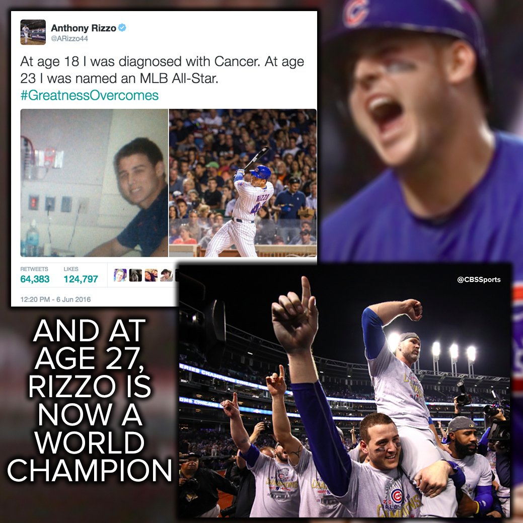 Anthony Rizzo indeed proves that #GreatnessOvercomes https://t.co/lTuxTYGaaL