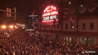 The scene outside Wrigley Field the moment the @Cubs won the #WorldSeries. Chills. https://t.co/5VEALOWxmP