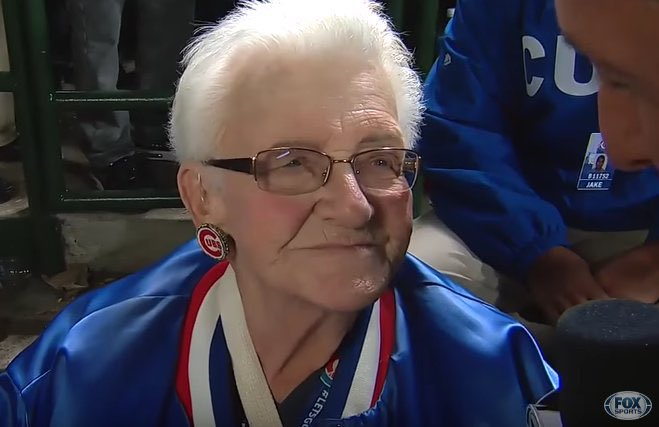 Dorothy Farrell should have own float at the Cubs victory parade. https://t.co/W0nhxOaZxg