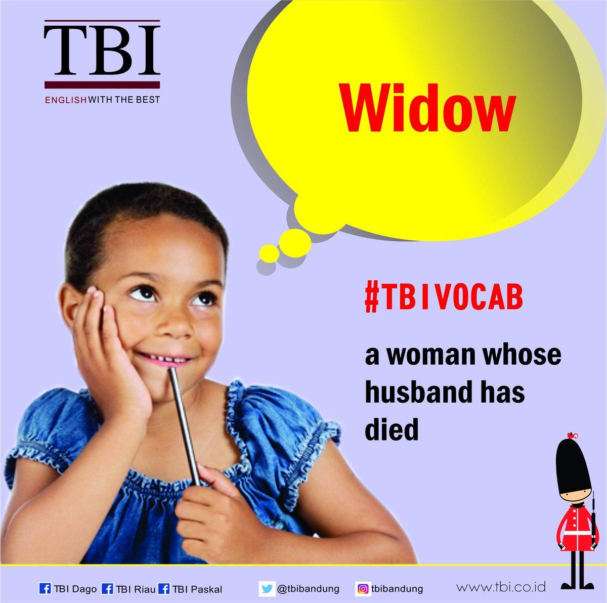 "#tbivocab "" Widow"" a woman whose husband has died. Ex : The young widow got engaged once more. #studyenglish #tbibandung #funenglish #tbinfo"