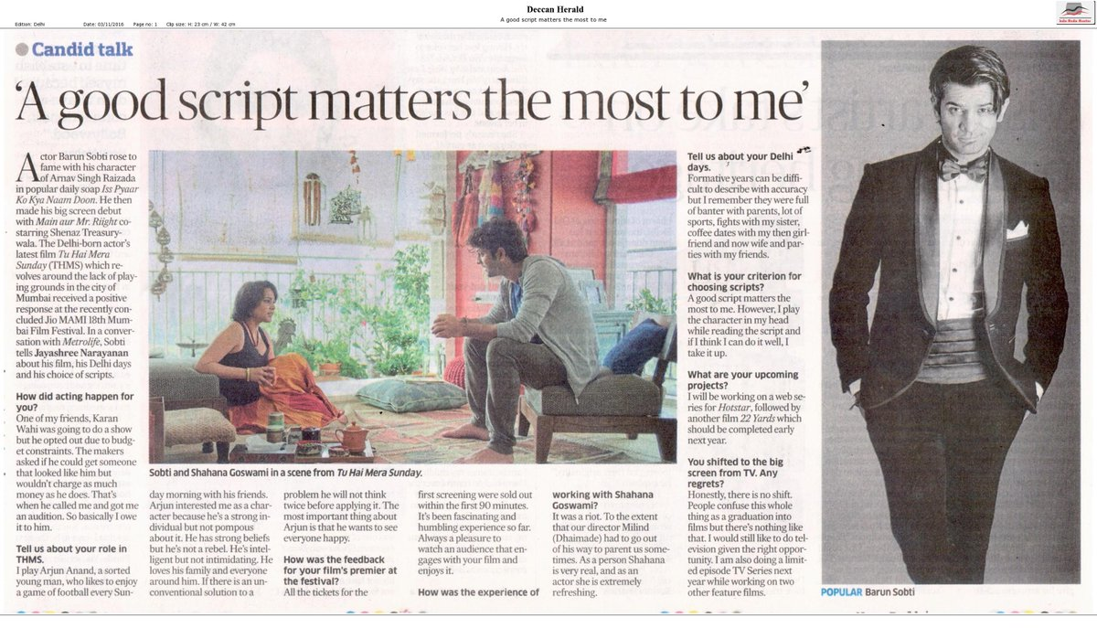 .@BarunSobtiSays speaks to @the_hindu on the much-buzzed-about #TuHaiMeraSunday that played at #JioMAMIwithStar2016. https://t.co/VenF7lzTdZ