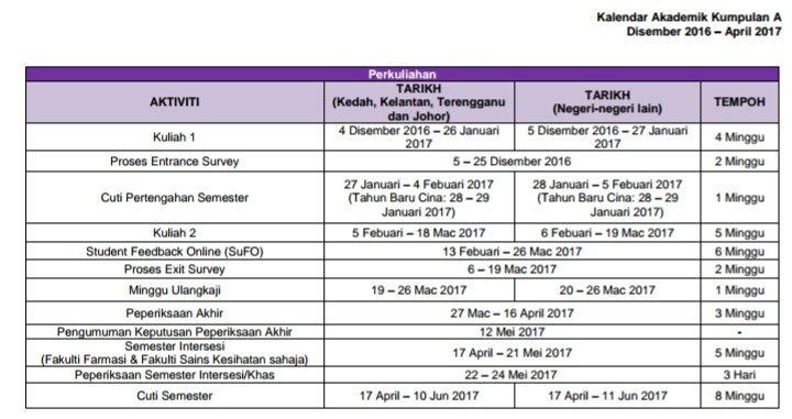 Mpp Uitm Segamat On Twitter Maklumam Jadual Akademik