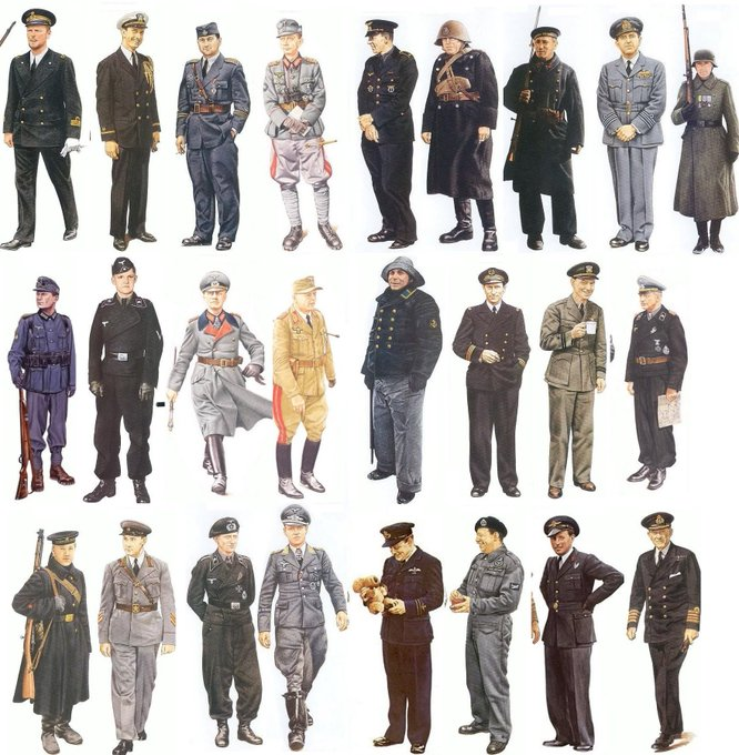 @k3_neoprotester 言いっぱなしも何なので実際に各国の軍服を調べてみたんですけど、どうにも「ナチス風だ!」と指摘されている箇所(黒が基調、ダブルボタン、額に
