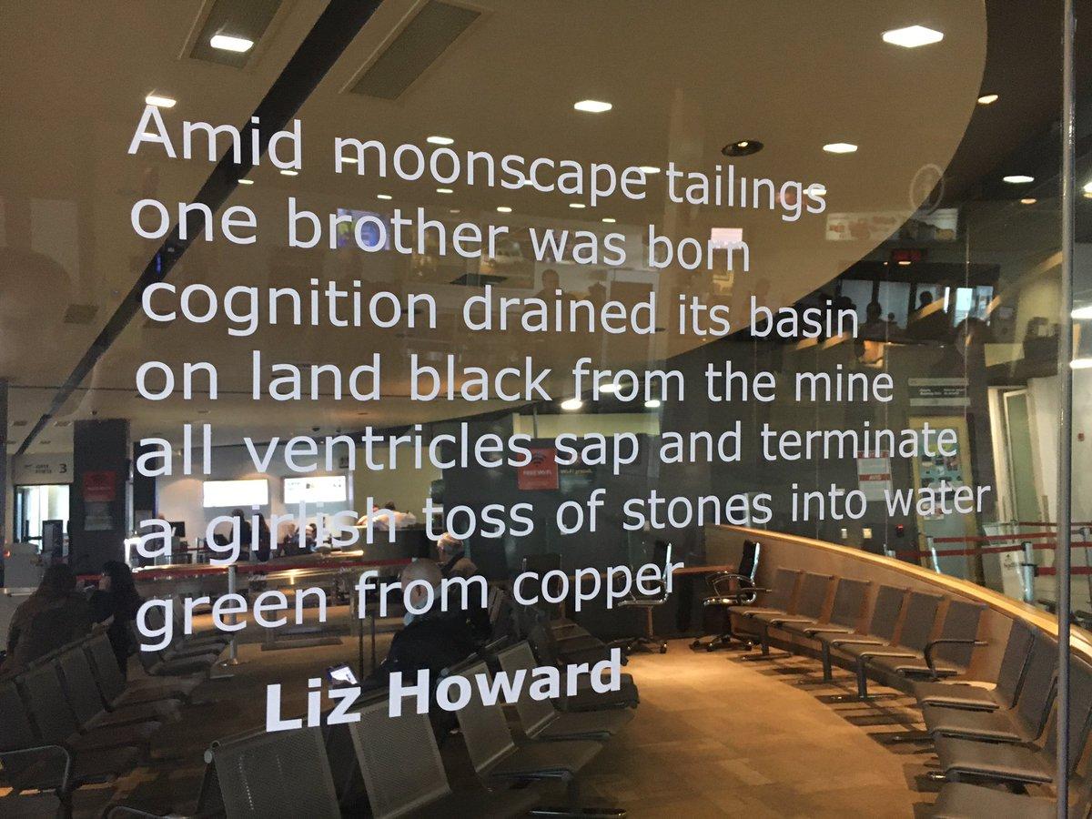 Liz howard on twitter poem installation at the sudbury airport for wordstock