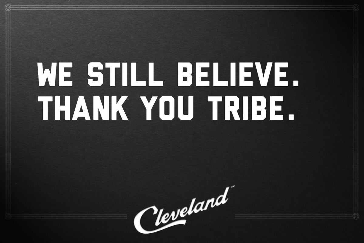 You did #TheLand proud, @Indians.   #RallyTogether #Believeland #ThisisCLE https://t.co/laBh0XbQdP