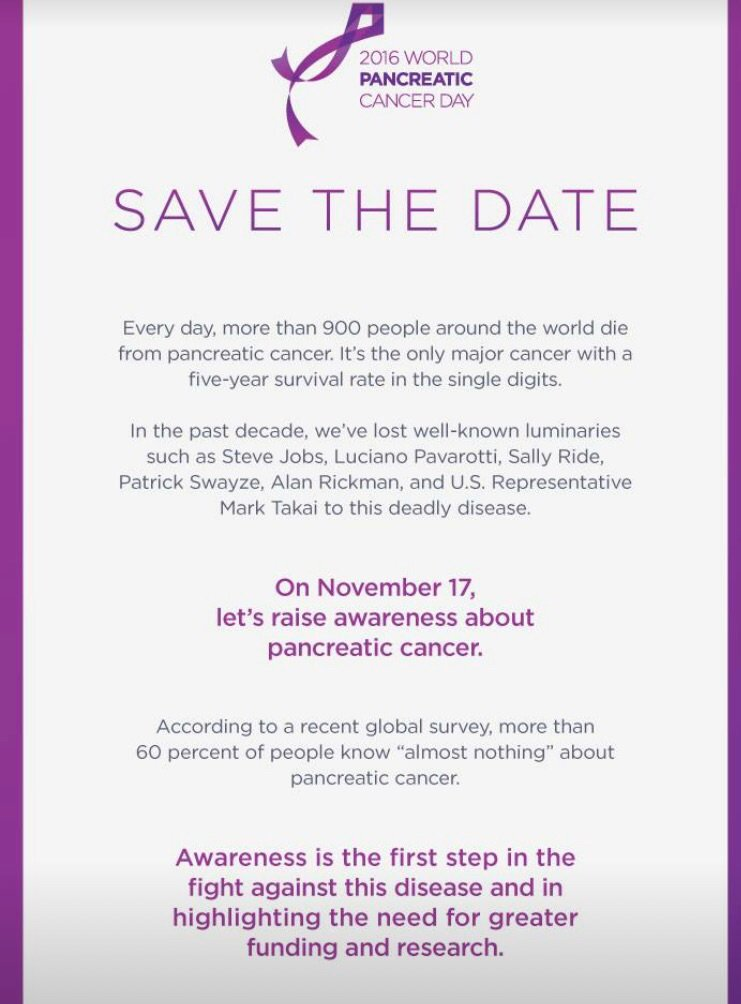 Don't forget November is #pancreaticcancer awareness month and November 17 is #wpcd World Pancreatic Cancer Day https://t.co/Snu2imOHfK