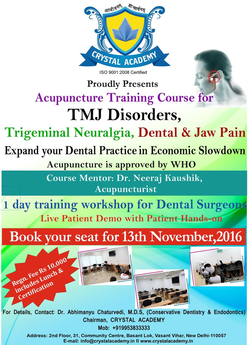 Abhimanyu chaturvedi on twitter who recognised management of abhimanyu chaturvedi on twitter who recognised management of tmj disorders amd trigeminal neuralgia via acupuncture certificate training course at 1betcityfo Images
