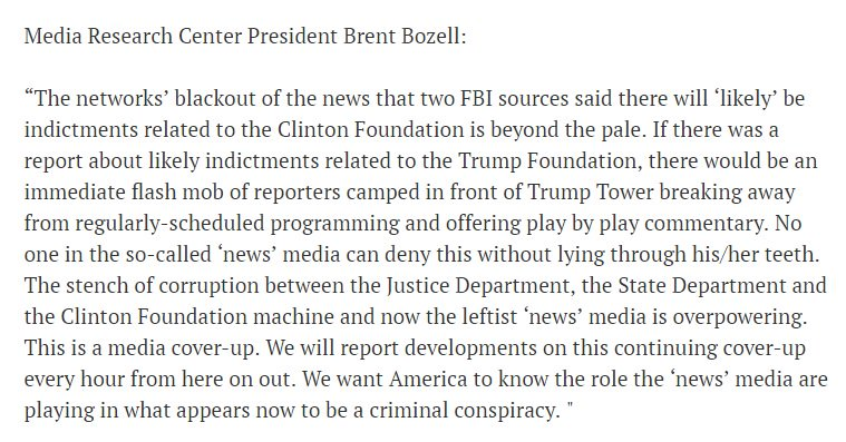 Here is my full statement on the networks' blackout of the likely Clinton Foundation indictment. https://t.co/ztcCBXdOdc