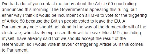 I would vote in favour of triggering Article 50 if this comes to Parliament. Here is my Facebook post on the matter: https://t.co/0OsMTr9oiJ