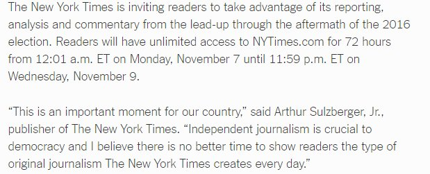 @nytimes to offer open access to https://t.co/LnudCGHu1l Nov. 7-9 https://t.co/zBdalU9S8Z https://t.co/HsG5wxeqqZ