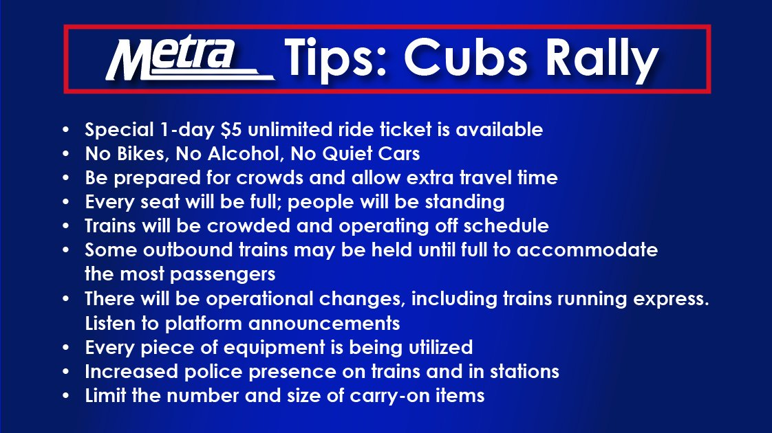 Here's everything you need to know about riding Metra to the #CubsRally: https://t.co/giAzo9bhVd https://t.co/jW8DJyAPFe