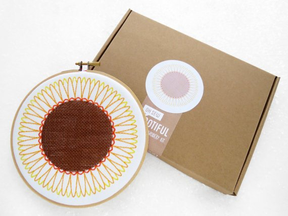 Sunflower Embroidery Kit, Summer Needlework Kit, Flowers. needlecraft handmade crafts