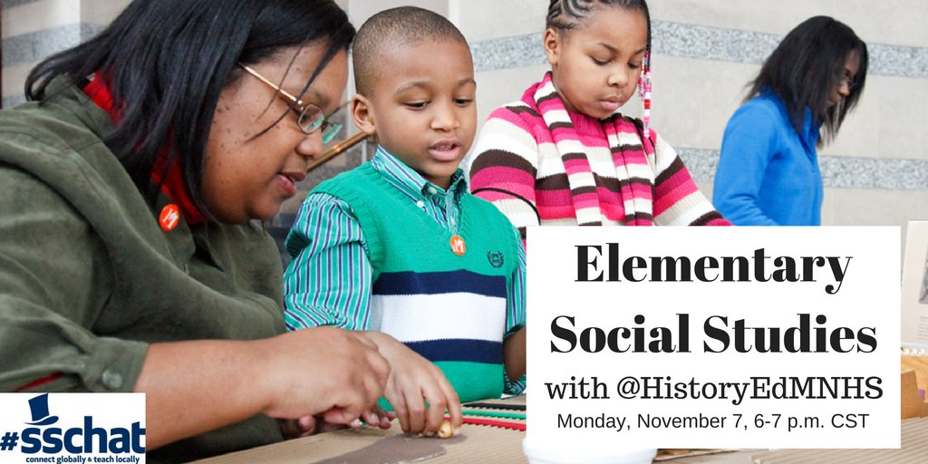 What do you think about social studies for elementary students? Please share your ideas w/ @HistoryEdMNHS & #sschat in ONE HOUR. https://t.co/7AAwSwLGXt