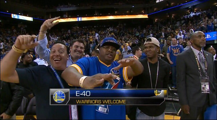 Gotta love Uncle Earl, but whoa that's CHAMILLIONAIRE! #Warriors #DubNation https://t.co/ZbJOF7dfi8