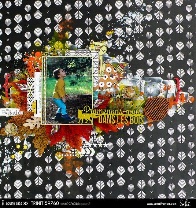page d'automne en mlange de collection scrapbooking avec les papiers SokaiFrance DIY