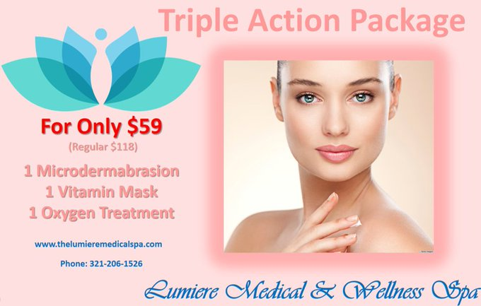 Only $59 (Regular Price $118) Triple Action Package. beauty orlando skincare