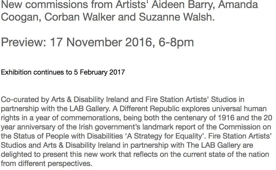 Wow. New commissions by  @AideenBarry  Amanda Coogan  @corbanwalker &  @SuzanneWalsh_  via @LabDCC @BarrettSheena @FSArtistStudios @ADIarts https://t.co/bejPAkd1CO