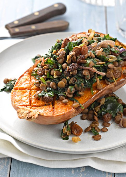 Behold! Butternut squash stuffed with lentils and spinach