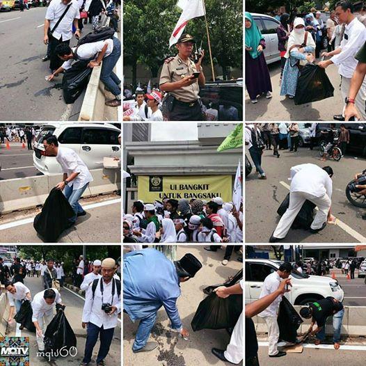 Jangankan mau anarkis, sampah yang berserakanpun kami pungut. Allahu Akbar #AksiDamai411
