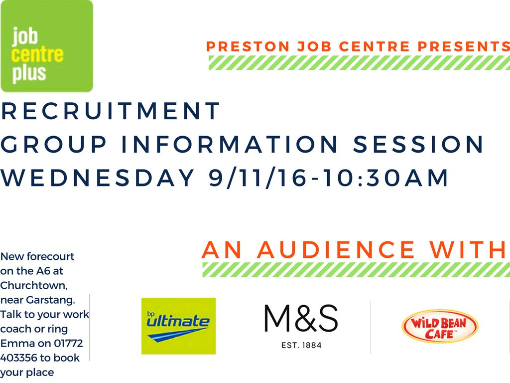 Paula duffy pauladuffy98 twitter preston job centre are holding a recruitment event with bpplc marksandspencer and wild bean cafe call 01772 403356 to book falaconquin