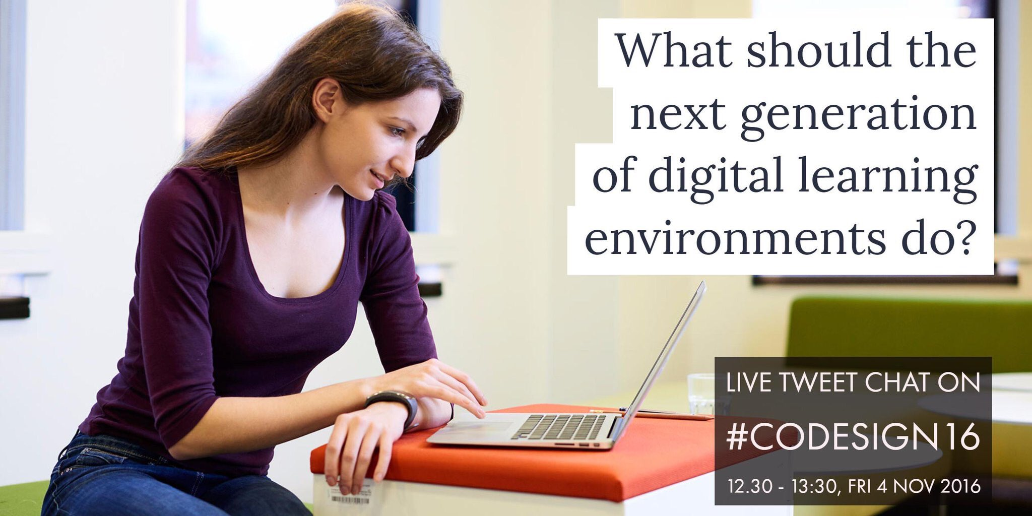 Good afternoon everyone and welcome to our live tweet chat on the next generation of learning environments! #codesign16 https://t.co/B2dH4lekc1
