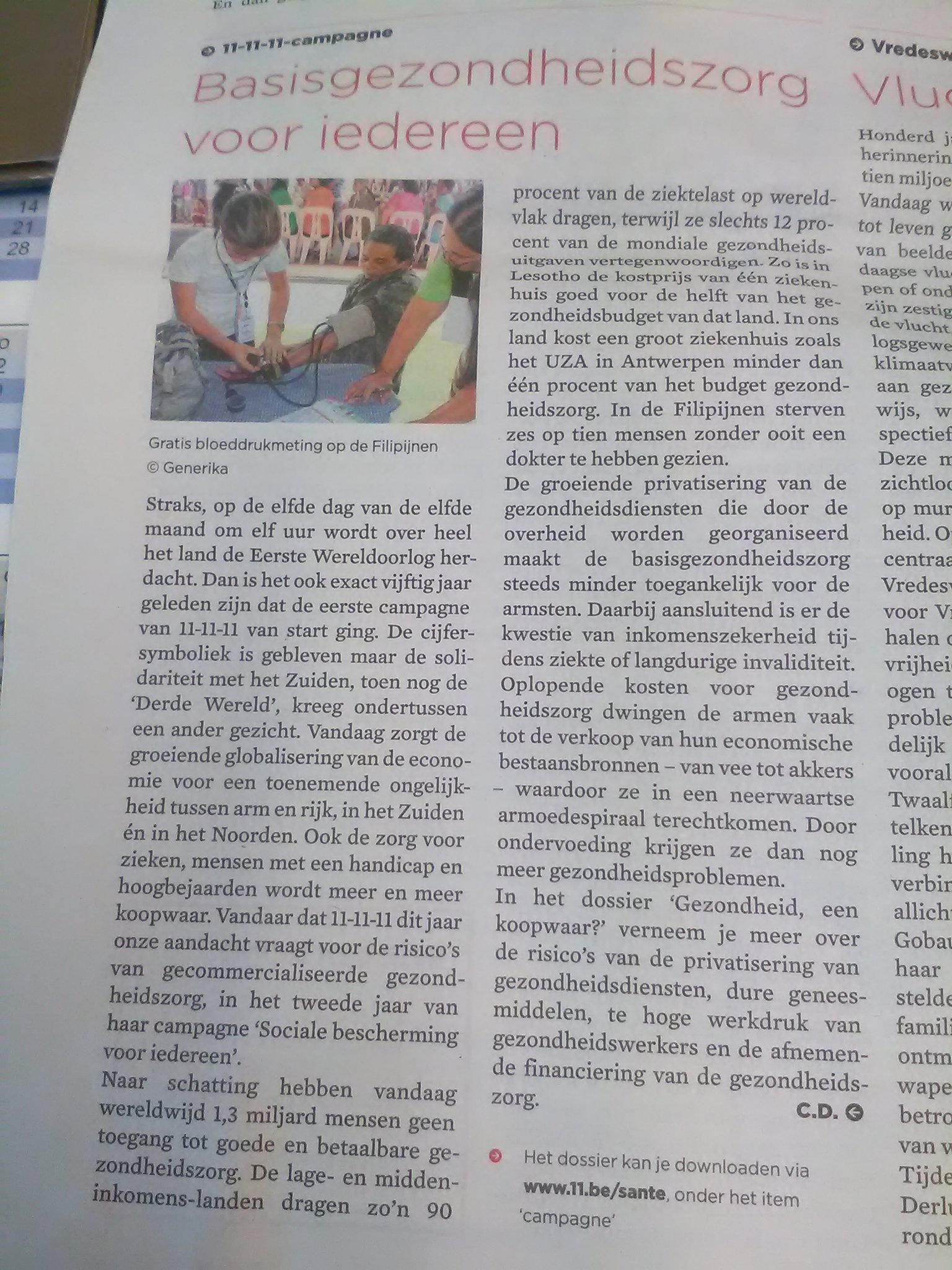 Gelezen in nieuwe nummer van @Gezinsbond : basisgezondheidszorg voor iedereen @www11be #rechtopsante #campagneweek https://t.co/GuTRnU8WRD