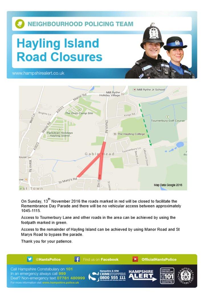Road Closures Hayling Island