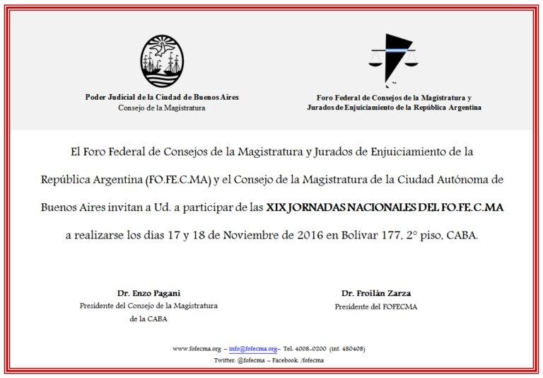 Consejeros Carrasco y Valdez disertarán en las XIX Jornadas Nacionales del @fofecma 17 y 18/11 en CABA. Programa en https://t.co/3OC0xOJ8K4 https://t.co/mz6RDXNoEf