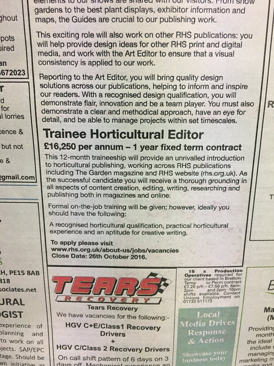 Ociate Editor Job Description   Chris Young On Twitter Please Rt Trainee Horticultural Editor