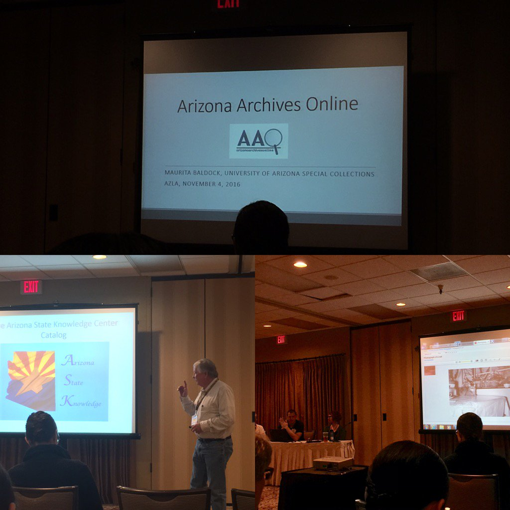 Today we learn about great primary source material resources from Arizona Archives  #AzLA2016 https://t.co/1q6ViAbhpQ