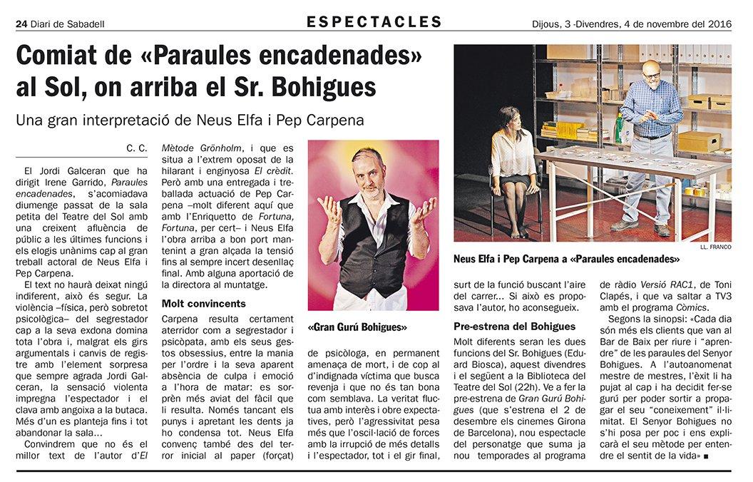 El @Senyor Bohigues i #ParaulesEncadenades  són notícia al @ddsbd @CCascn #Sabadell @teatredelsol  Reserves https://t.co/RxlvpT63Re https://t.co/xE59Akv5bN