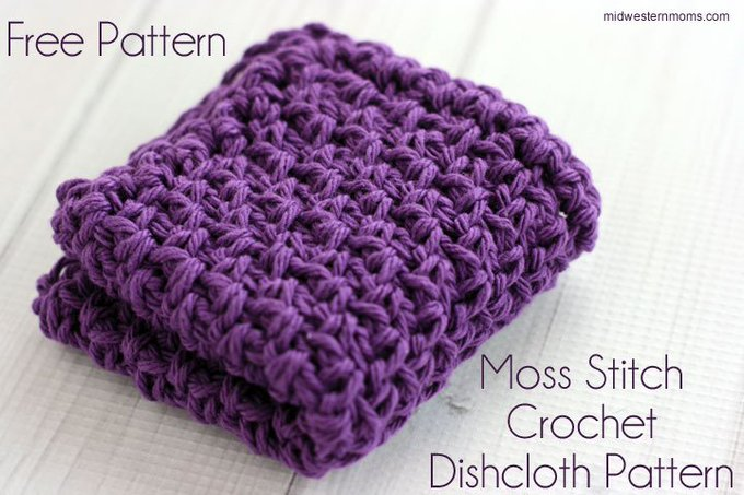 Simple Moss Stitch Crochet Dishcloth Pattern crochet DIY crafts