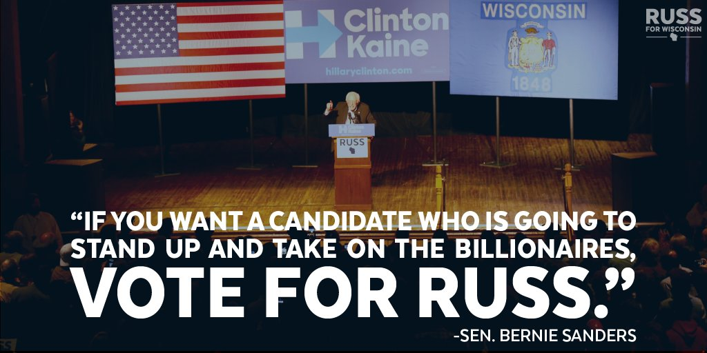 .@BernieSanders knows Russ will fight for the hardworking people of Wisconsin, not corporate interests. #Russ4WI https://t.co/aHPSwqvV7p