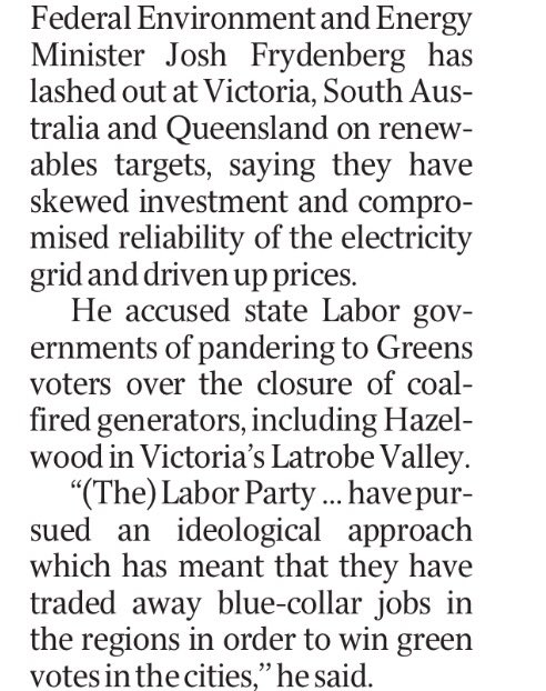 What happened to working together @JoshFrydenberg? Renewables had nothing to do with Engie's decision, shameful politicisation #springst https://t.co/sQ34e6nWP2