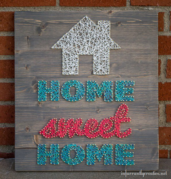 Great (and fairly easy) DIY decor - Home Sweet Home String Art home craft handmade