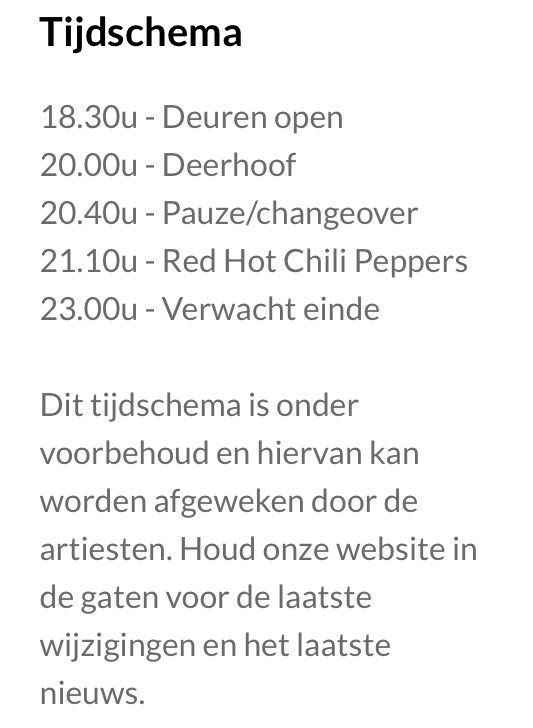 Ziggo Dome On Twitter Tijdschema Red Hot Chili Peppers Met Support