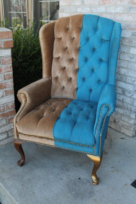 I PAINTED the blue side of this chair!!!! FAB gives ugly upholstery NEW LIFE! DIY Creative