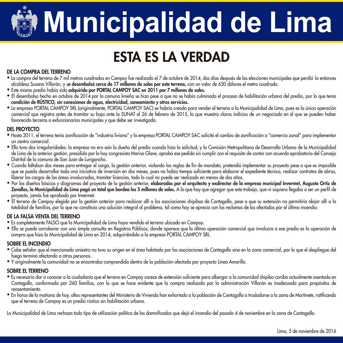 #Comunicado: Municipalidad de Lima se pronuncia sobre terreno de Campoy. #EstaEsLaVerdad ➝ https://t.co/GzzBJn8G8G https://t.co/yRxWs2ZG14