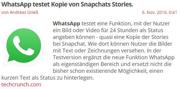 Kopie Snapchats Stories Whatsapp Testet Kopie Von