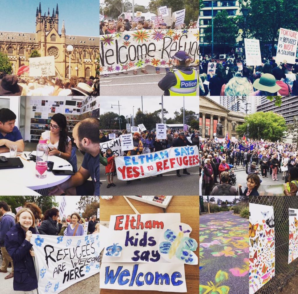 This all happened yesterday in 🇦🇺   We rallied to #BringThemHere  We stood together in #Eltham  We did #Hack4Refugees  Welcome #Refugees ✊🏼 https://t.co/A4itSSPYR0