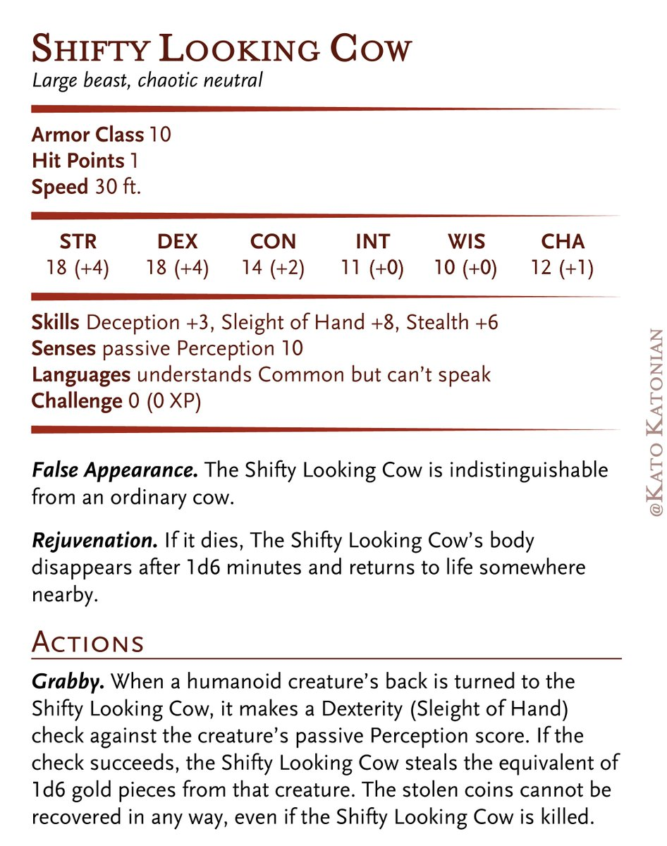 I statted up the Shifty Looking Cow for #dnd. You know, in case anyone needs it. https://t.co/CJ7RwLSylM