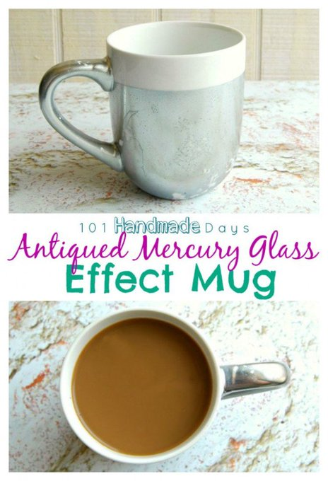 DIY Your own Antiqued Mercury Glass Effect Mug!! Check it out >>