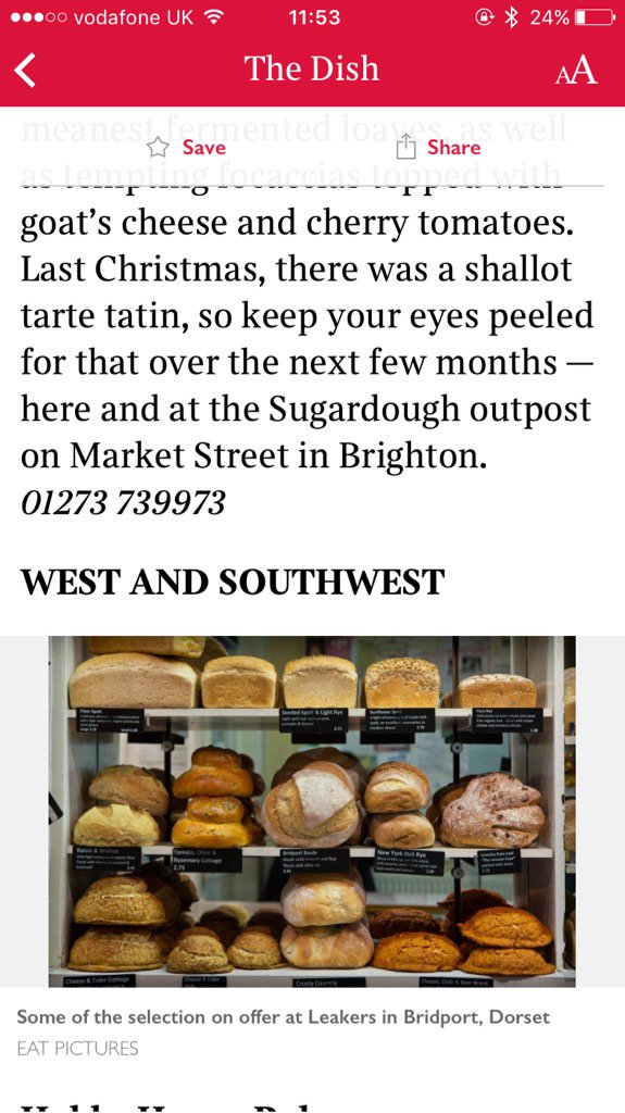 Loving this @EatPictures image of our bread in today's @SundayTimesFood feature of 30 #STbestbakeries