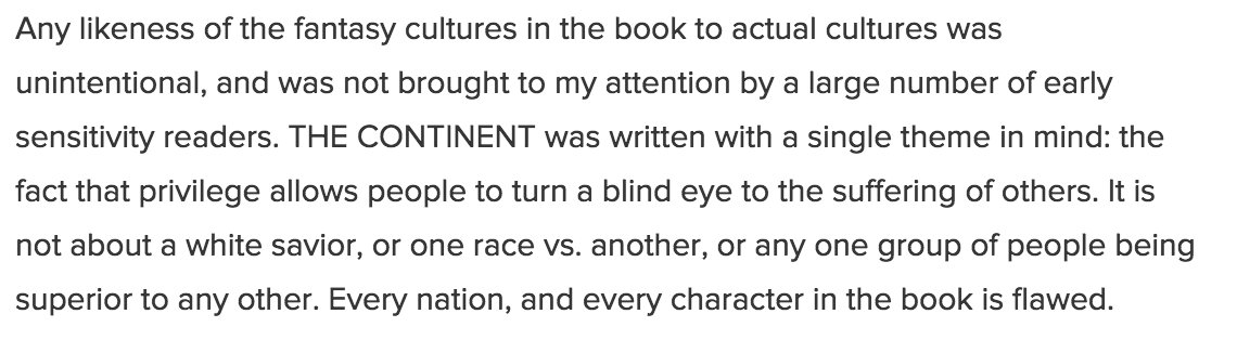 Drake's statement about #TheContinent also says she had sensitivity readers on the manuscript: https://t.co/dNv92rgWoP