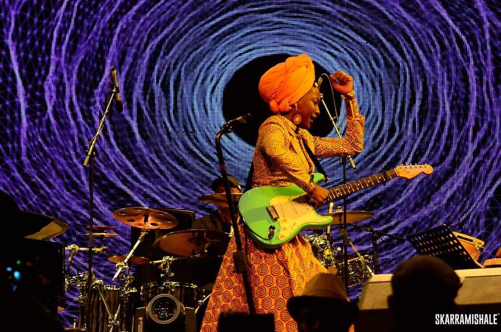 Fatoumata Diawara performing at Safaricom Jazz. Photo credit - Skarra Mishale - Image from https://twitter.com/smusyoka/status/795192243296550912