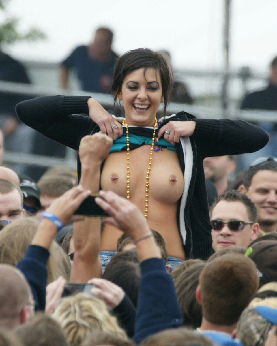 Flashing boobs in public